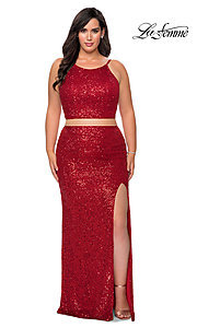 Image of plus two-piece long sequin prom dress by La Femme. Style: LF-21-P29026 Detail Image 1