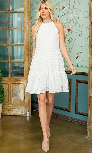 High-Neck Casual Short Party Dress