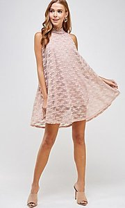 Image of light pink mock-neck short casual lace party dress. Style: LAS-SOL-21-S-20381 Front Image