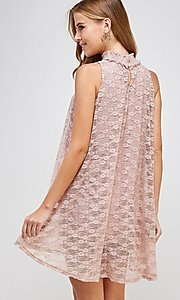 Image of light pink mock-neck short casual lace party dress. Style: LAS-SOL-21-S-20381 Back Image