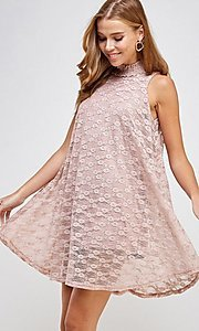 Image of light pink mock-neck short casual lace party dress. Style: LAS-SOL-21-S-20381 Detail Image 2