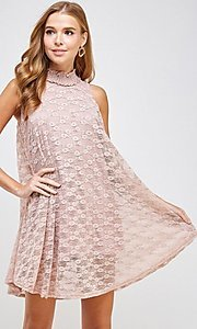Image of light pink mock-neck short casual lace party dress. Style: LAS-SOL-21-S-20381 Detail Image 4