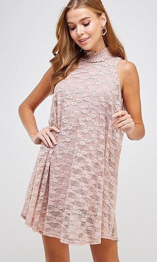 Image of light pink mock-neck short casual lace party dress. Style: LAS-SOL-21-S-20381 Detail Image 1