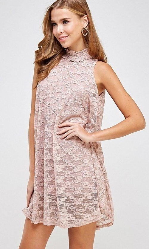 Image of light pink mock-neck short casual lace party dress. Style: LAS-SOL-21-S-20381 Detail Image 3