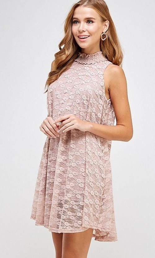 Image of light pink mock-neck short casual lace party dress. Style: LAS-SOL-21-S-20381 Detail Image 5