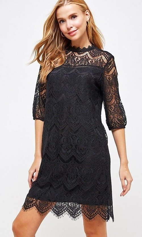 Image of sleeved semi-formal sheath short lace party dress. Style: LAS-SOL-21-S-23146D Detail Image 6