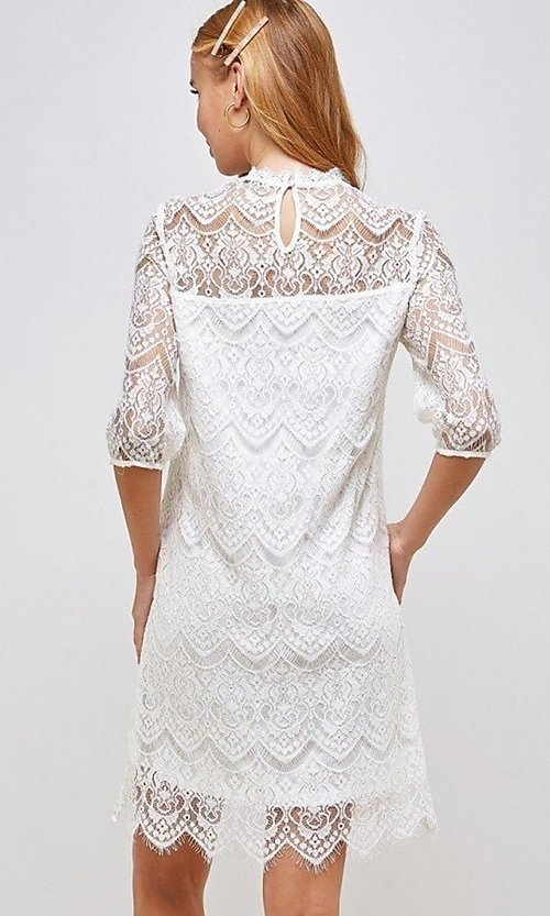 Image of sleeved semi-formal sheath short lace party dress. Style: LAS-SOL-21-S-23146D Back Image