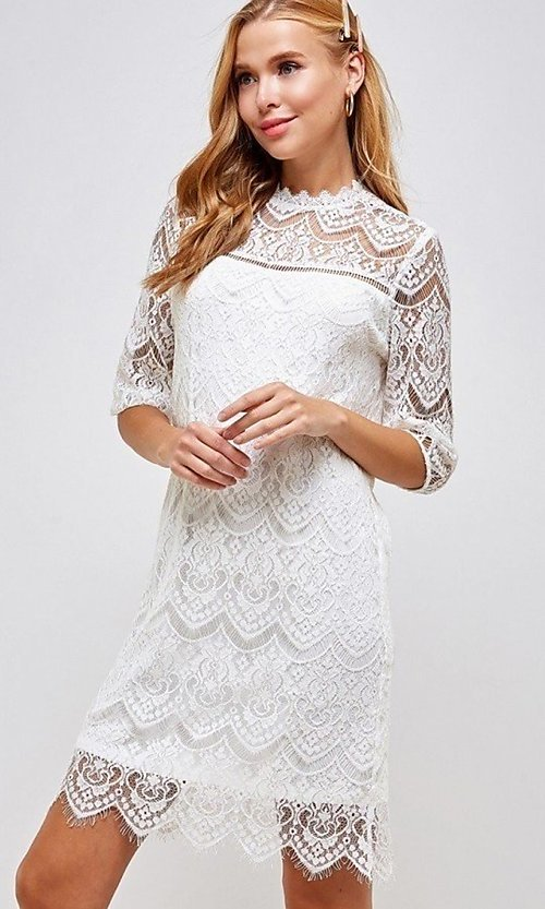 Image of sleeved semi-formal sheath short lace party dress. Style: LAS-SOL-21-S-23146D Detail Image 3