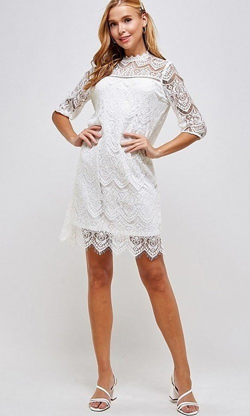 Image of sleeved semi-formal sheath short lace party dress. Style: LAS-SOL-21-S-23146D Detail Image 4