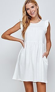 Image of short sleeveless casual off-white graduation dress. Style: LAS-2H-21-D3108 Detail Image 1