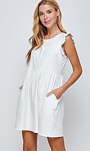 Image of short sleeveless casual off-white graduation dress. Style: LAS-2H-21-D3108 Detail Image 3