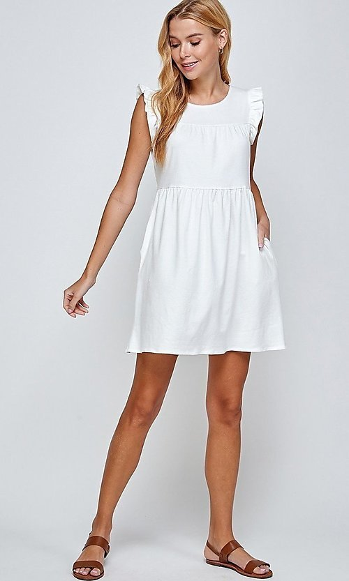 Image of short sleeveless casual off-white graduation dress. Style: LAS-2H-21-D3108 Front Image