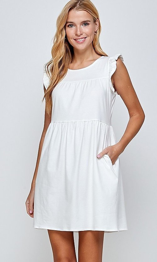 Image of short sleeveless casual off-white graduation dress. Style: LAS-2H-21-D3108 Detail Image 2