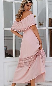 Image of blush pink off-the-shoulder casual maxi dress. Style: LAS-ESL-21-50193DXY Back Image
