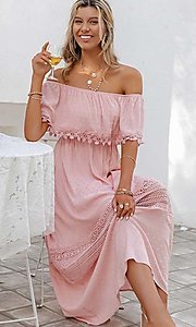 Image of blush pink off-the-shoulder casual maxi dress. Style: LAS-ESL-21-50193DXY Detail Image 1