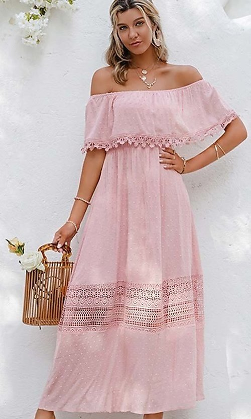 Image of blush pink off-the-shoulder casual maxi dress. Style: LAS-ESL-21-50193DXY Front Image