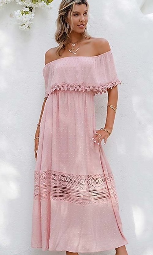 Image of blush pink off-the-shoulder casual maxi dress. Style: LAS-ESL-21-50193DXY Detail Image 2