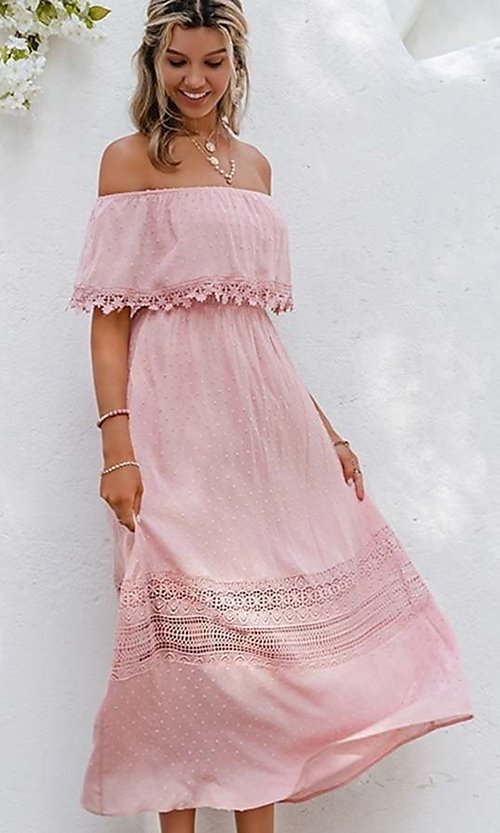 Image of blush pink off-the-shoulder casual maxi dress. Style: LAS-ESL-21-50193DXY Detail Image 3