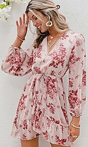 Image of pink print short summer dress with long sleeves. Style: LAS-ESL-21-50196DXY Front Image