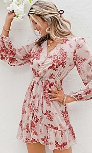 Image of pink print short summer dress with long sleeves. Style: LAS-ESL-21-50196DXY Detail Image 1