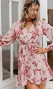 Image of pink print short summer dress with long sleeves. Style: LAS-ESL-21-50196DXY Detail Image 2