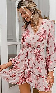 Image of pink print short summer dress with long sleeves. Style: LAS-ESL-21-50196DXY Detail Image 3