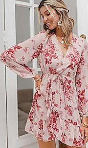 Image of pink print short summer dress with long sleeves. Style: LAS-ESL-21-50196DXY Detail Image 4