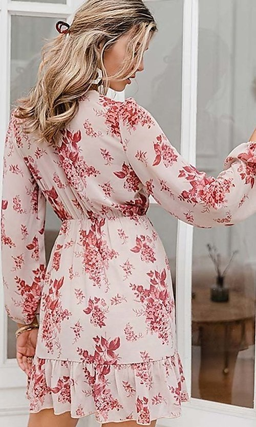 Image of pink print short summer dress with long sleeves. Style: LAS-ESL-21-50196DXY Back Image