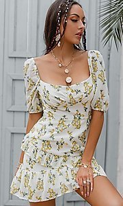 Image of floral print short puff-sleeve white summer dress. Style: LAS-ESL-21-50198DXY Front Image
