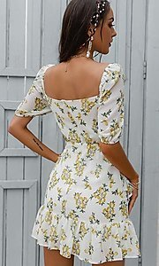 Image of floral print short puff-sleeve white summer dress. Style: LAS-ESL-21-50198DXY Back Image