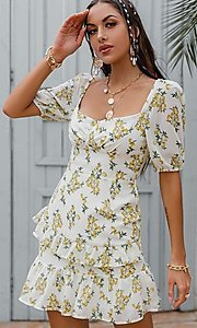 Image of floral print short puff-sleeve white summer dress. Style: LAS-ESL-21-50198DXY Detail Image 1