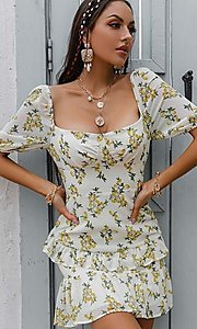Image of floral print short puff-sleeve white summer dress. Style: LAS-ESL-21-50198DXY Detail Image 4