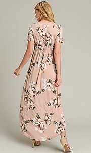 Image of light pink print casual high-low party dress. Style: LAS-VB-21-VD7681 Back Image