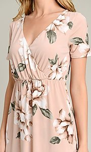 Image of light pink print casual high-low party dress. Style: LAS-VB-21-VD7681 Detail Image 1