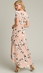 Image of light pink print casual high-low party dress. Style: LAS-VB-21-VD7681 Detail Image 4