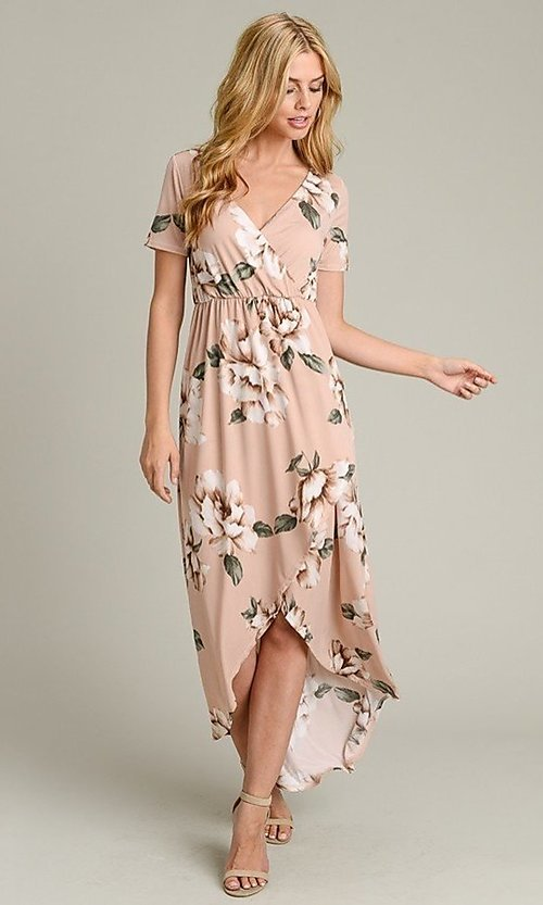 Image of light pink print casual high-low party dress. Style: LAS-VB-21-VD7681 Front Image