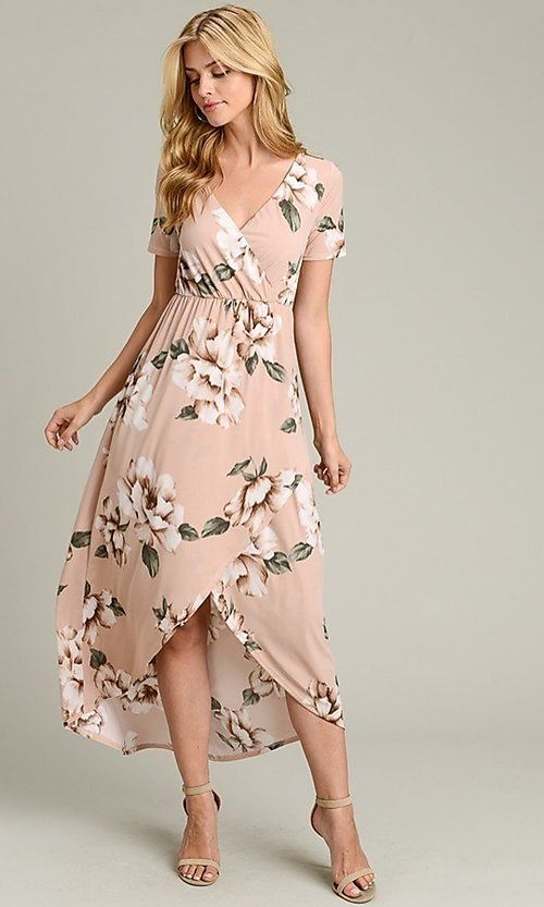 Image of light pink print casual high-low party dress. Style: LAS-VB-21-VD7681 Detail Image 2