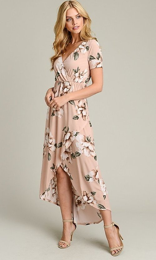 Image of light pink print casual high-low party dress. Style: LAS-VB-21-VD7681 Detail Image 3