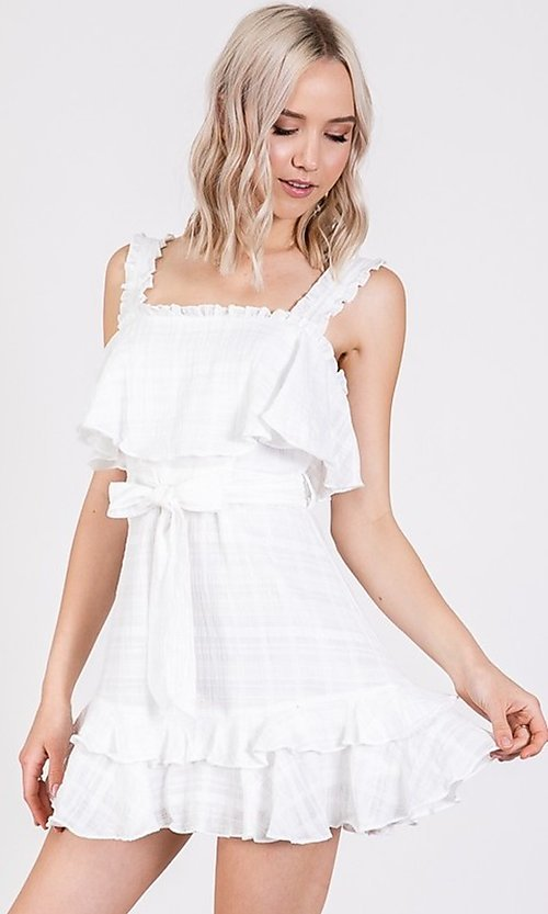 Image of short white graduation party dress with waist tie. Style: LAS-TWE-21-5020IMD-2 Front Image