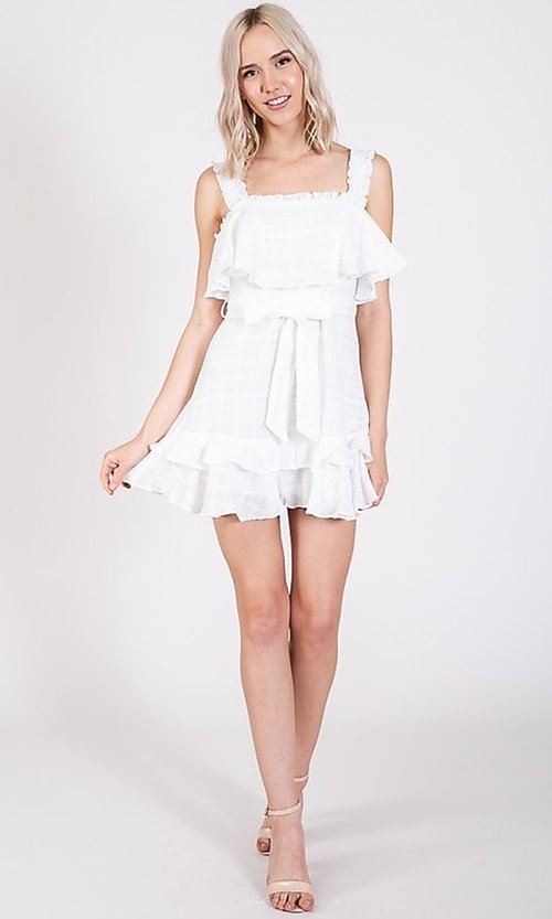 Image of short white graduation party dress with waist tie. Style: LAS-TWE-21-5020IMD-2 Detail Image 1