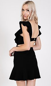 Image of open-back short casual graduation party dress. Style: LAS-TWE-21-5007IMD-1 Detail Image 6