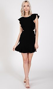 Image of open-back short casual graduation party dress. Style: LAS-TWE-21-5007IMD-1 Detail Image 7