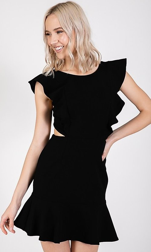 Image of open-back short casual graduation party dress. Style: LAS-TWE-21-5007IMD-1 Detail Image 5