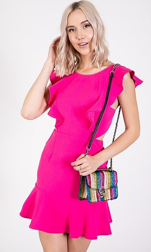 Image of open-back short casual graduation party dress. Style: LAS-TWE-21-5007IMD-1 Detail Image 2