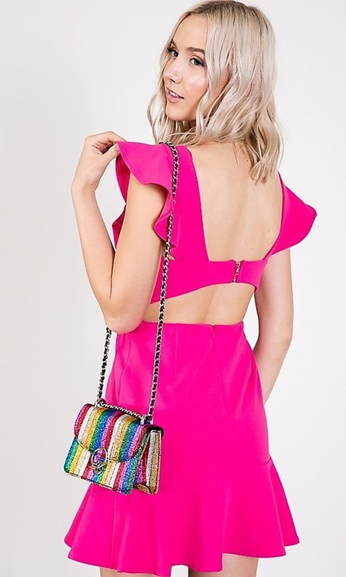 Image of open-back short casual graduation party dress. Style: LAS-TWE-21-5007IMD-1 Detail Image 3