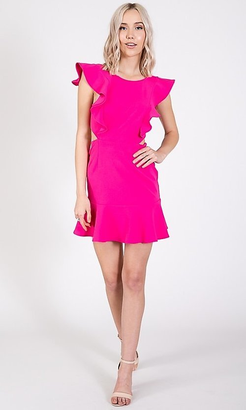 Image of open-back short casual graduation party dress. Style: LAS-TWE-21-5007IMD-1 Detail Image 4