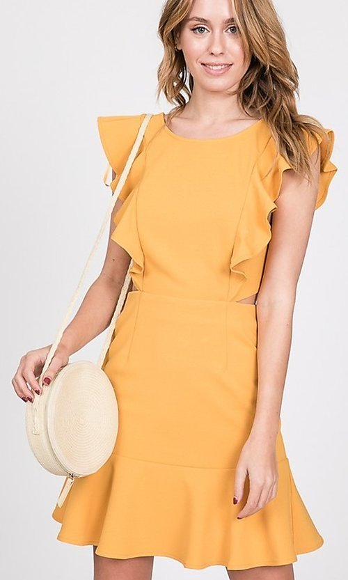 Image of open-back short casual graduation party dress. Style: LAS-TWE-21-5007IMD-1 Front Image
