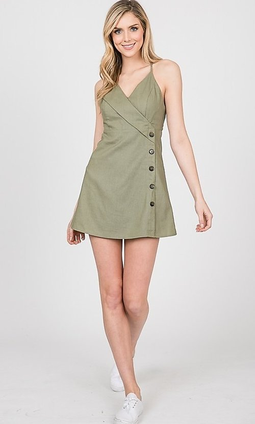 Image of short graduation party dress with buttons. Style: LAS-TWE-21-5002IMD Detail Image 3
