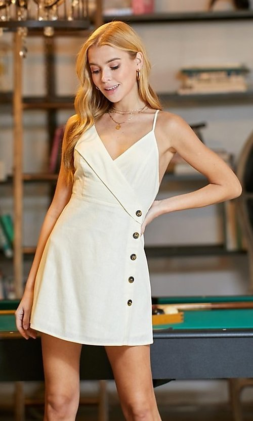 Image of short white graduation party dress with buttons. Style: LAS-TWE-21-5002IMD Front Image