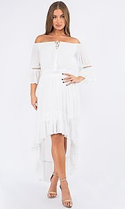 Image of off-the-shoulder high-low casual party dress. Style: LAS-MAV-21-MA9536 Front Image